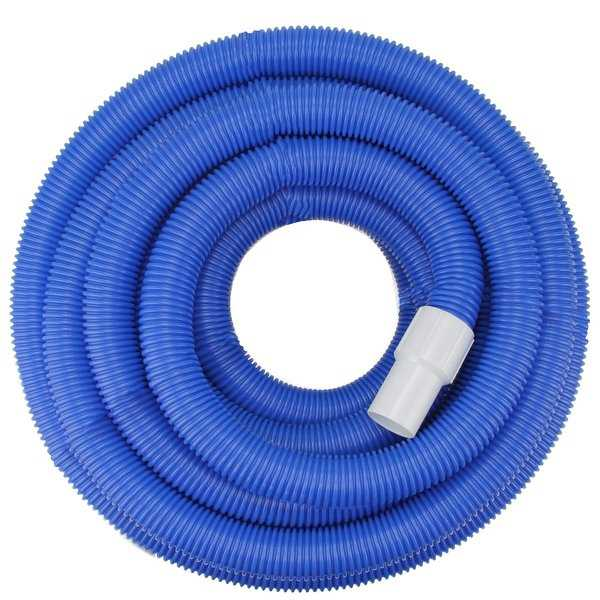 Blue Blow-Molded PE In-Ground Swimming Pool Vacuum Hose with Swivel Cuff - 25' x 1.5' - White
