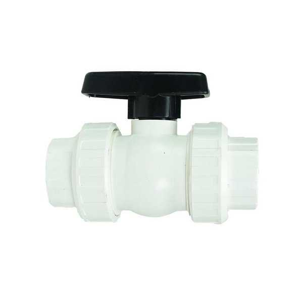 1.5' HydroTools Swimming Pool Standard Precision ABS Female Socket Ball Valve - White