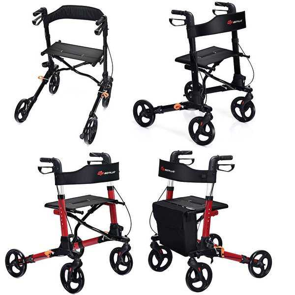 Goplus Folding Medical Rollator Lightweight Aluminum Walker Seniors w Adjustable Handle